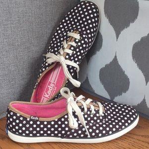 KEDS 8.5M Brown Ivory Polka Dot Sneakers